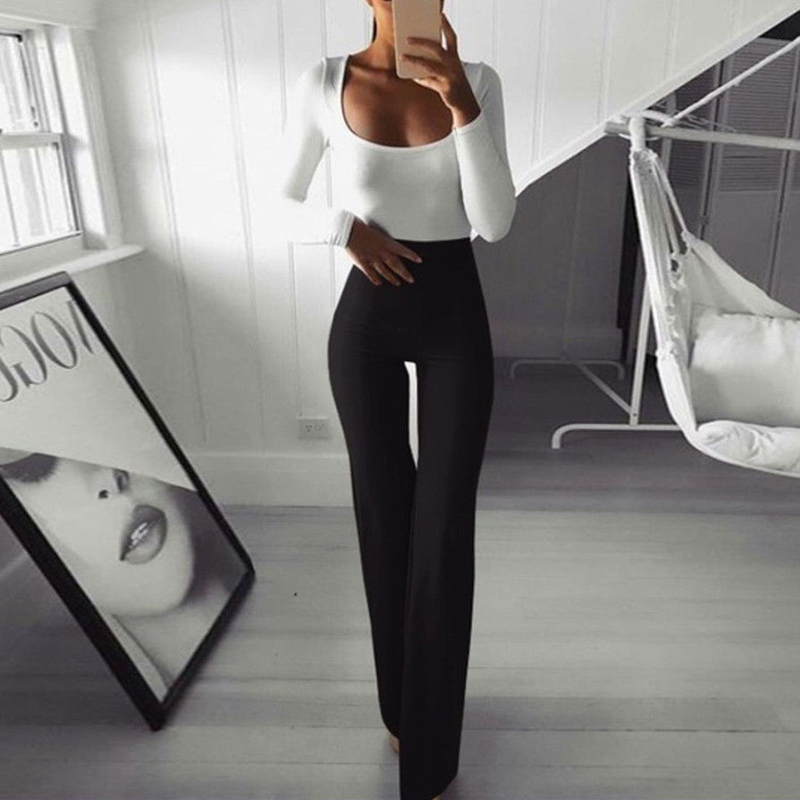 2019 Womens Wide Leg Ol Pants Flared High Waist Ladies Plain Stretch Bell Bottom Work Long Trousers Pant Solid Fashion New Hot Bottoms