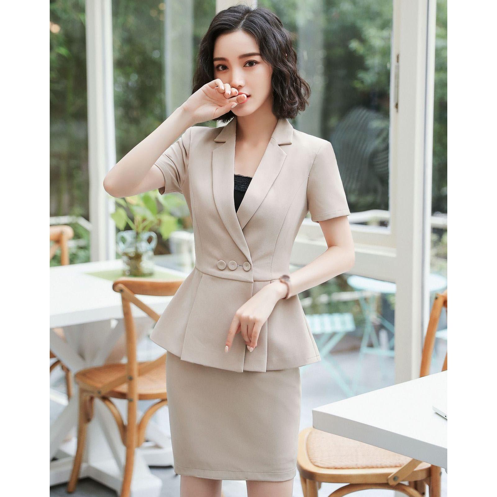 Elegant Summer Women Plus Size Blazers 2 Pieces Set Pleated Tops Mini Skirt Set Ladies Office Work Wear Uniforms Sets