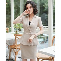 Elegant Summer Women Plus Size Blazers 2 Pieces Set Pleated Tops Mini Skirt Set Ladies Office Work Wear Uniforms Sets