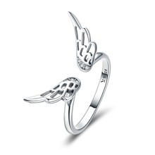 Authentic 925 Sterling Silver Classic Feathers Wings Adjustable Finger Rings for Women Wedding Engagement Jewelry SCR457