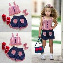 eae591d0c287e Enfant Bébé Filles Plaid Vest Crop Tops Pantalon Court Bandeau Tenues  Vêtements USA