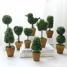 Mini Potted artificial plants fake Ball Tree FLOWER Small Bonsai home decoration christmas gift with pot