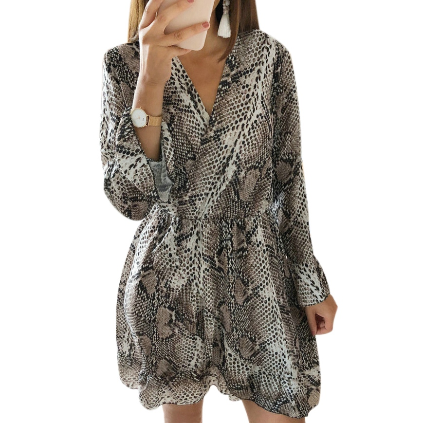 Autumn Fashion Women Dress Serpentine Printed Ladies Dress V-Neck Long Sleeve Ruffled Hem Long Sleeve Party Mini Dress