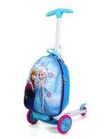 Продвижение девушка скутер чемодан на колеса скейтборда чемодан для поездок сумки с колесами интернат окно ноги самокат для 3 10years