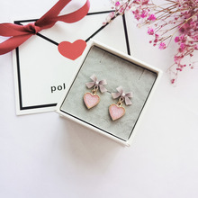 2019 Korean New Pink Bowknot Love Heart Drop Earrings For Women Fashion Accessories Sweet Boucle Doreille