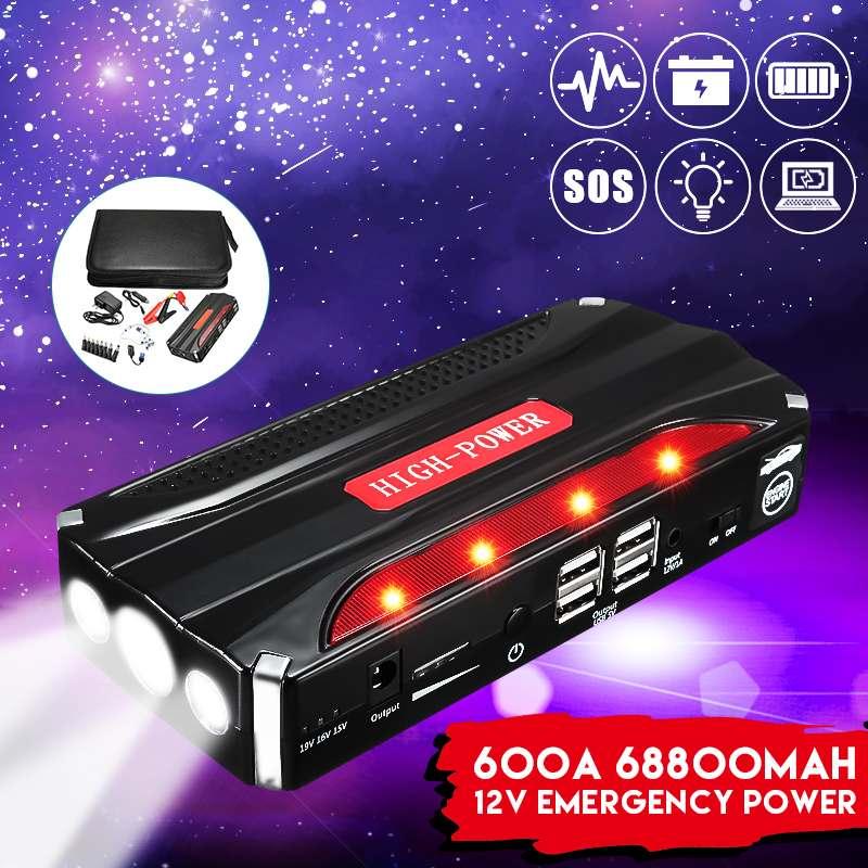 600A 68800 mAh 12 V 4USB voiture saut démarreur batterie externe rechargeable batterie de secours multi-fonction SOS lampe de poche