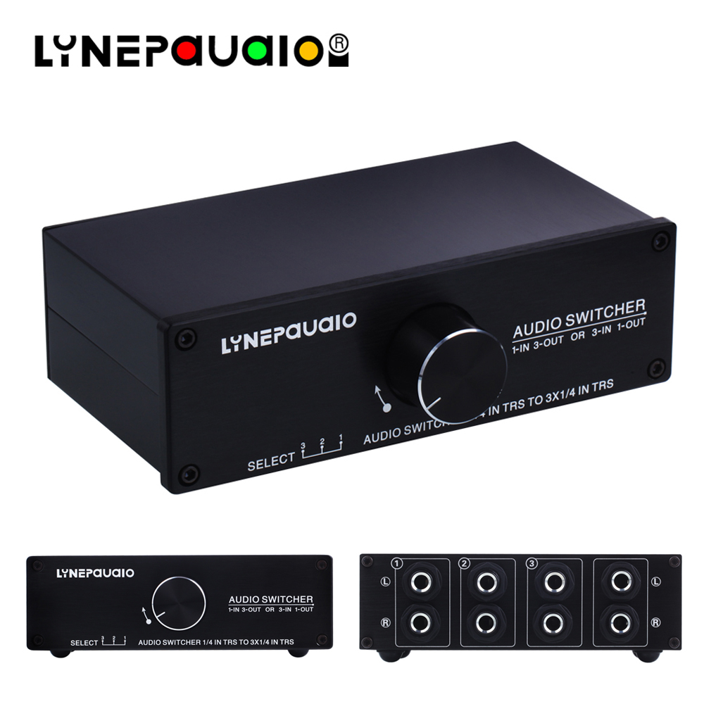 Audio Switcher 1 Input 3 Output Or 3 Input 1 Output Stereo Speaker Switch 1/4 TRS 6.35mm Input And Output Interface