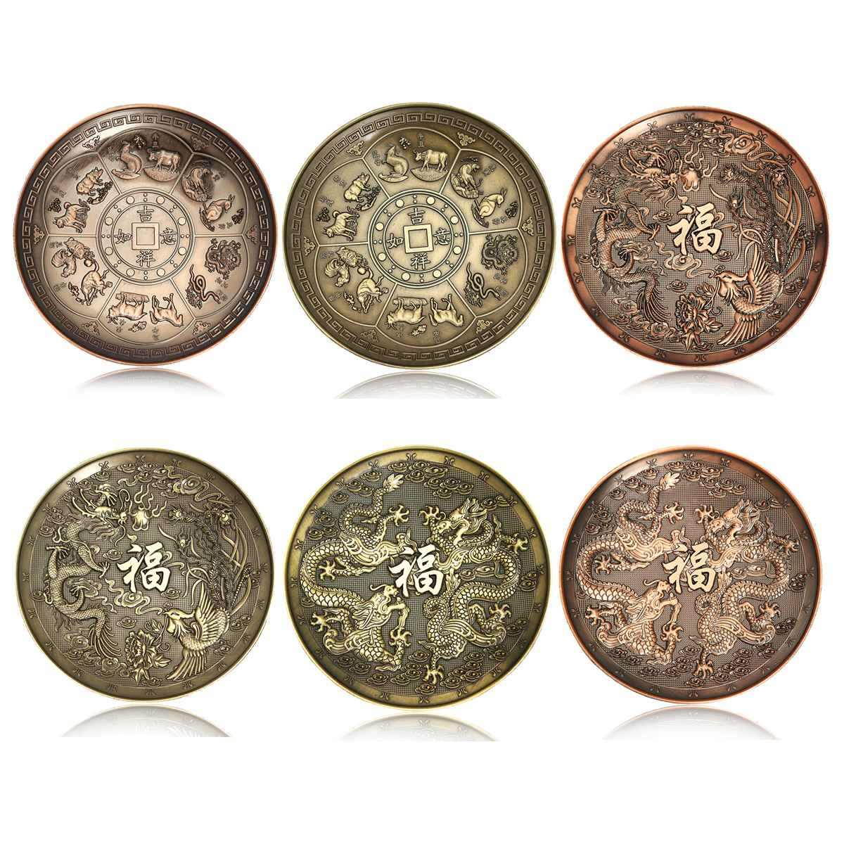 Chinese Dragon Incense Holder Retro 5 Holes Lotus Incense Burners Stick Cone Censer Plate Buddhism Home Office Decoration Crafts