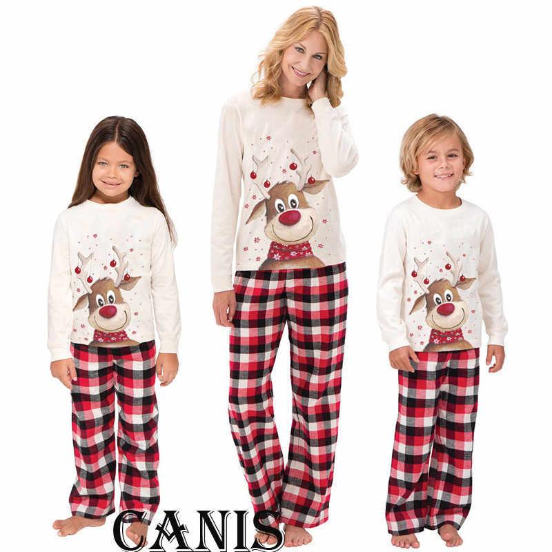bc6d3f4823 ... Family Matching Outfits Christmas Pajamas Set XMAS PJs Adult Kids Cute  Party Nightwear Pyjamas Cartoon Deer ...