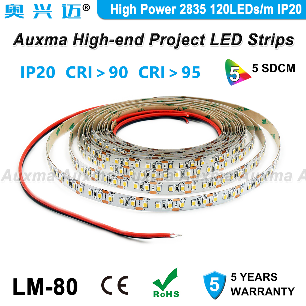 High Power 2835 120LEDs/m LED Strip,CRI95 CRI90,IP20 DC12V/24V,28.8W/m 19.2W/m 600LEDs/Reel,Non-waterproof For Hotel Lobby