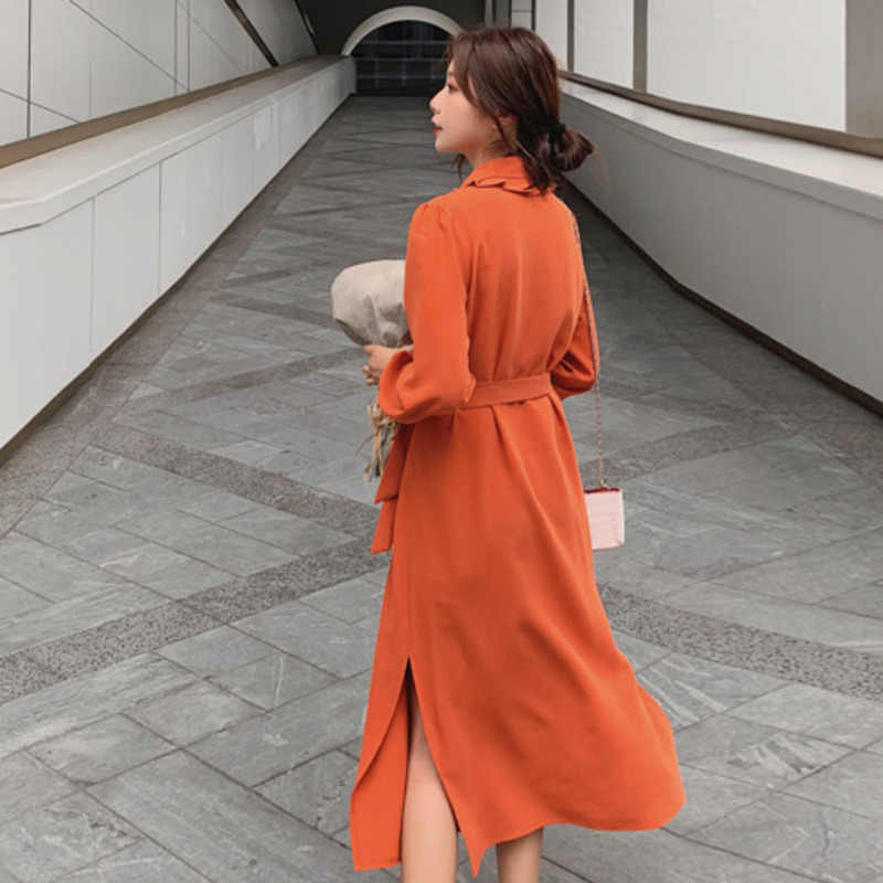 LANMREM 2019 весенняя одежда для женщин, новое корейское темпераментное двубортное шифоновое платье с поясом, шлица YG940