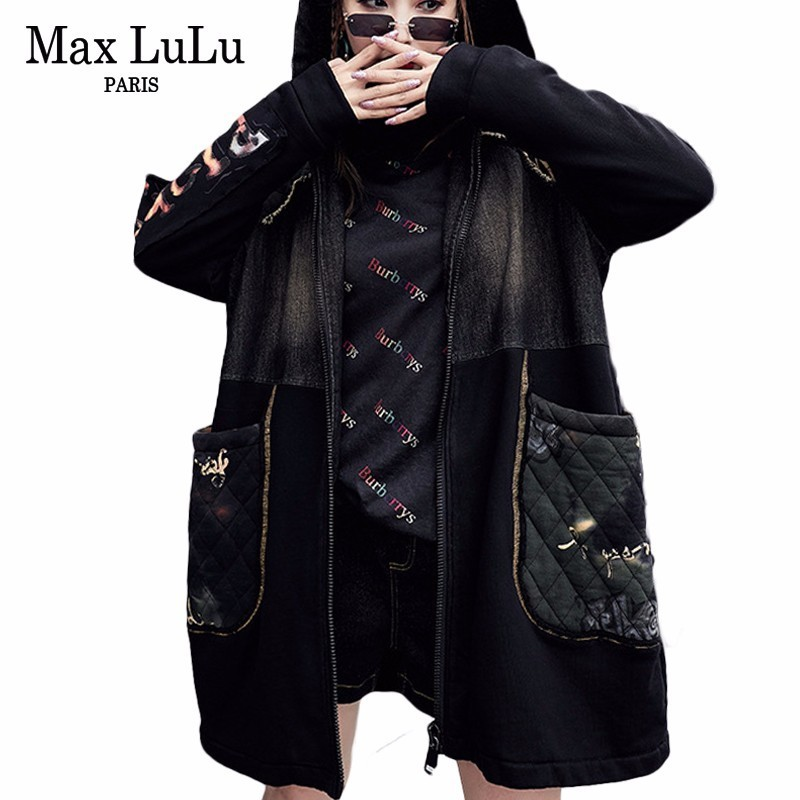 Max LuLu Luxury Korean Style Ladies Winter Long Windbreaker Womens Denim   Trench   Coat Warm Overcoat Woman Fur Clothes Plus Size