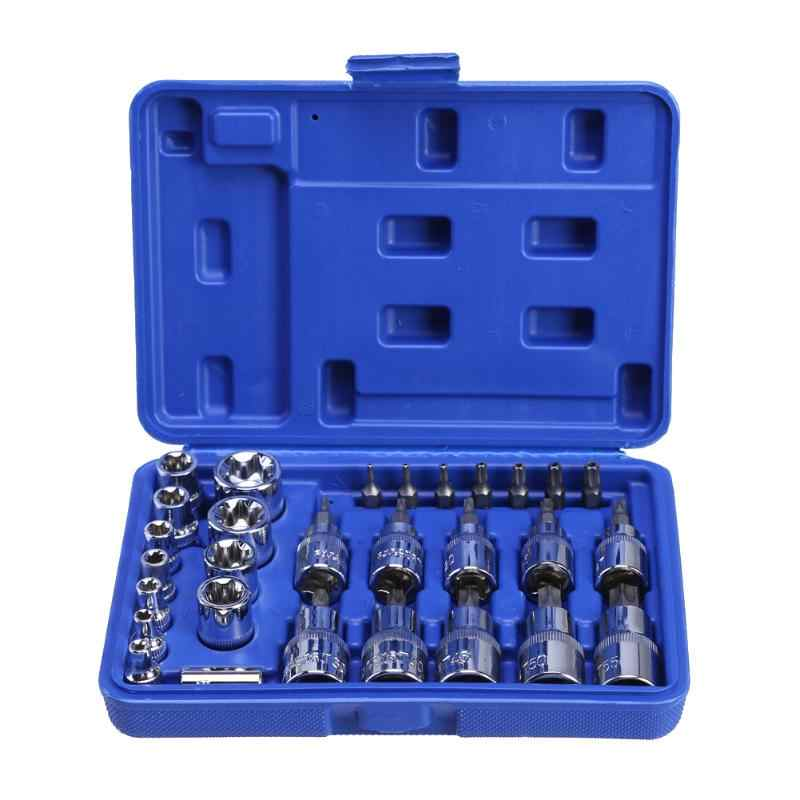 New 29Pcs/Box Torx Star Car Repair Tools Kit Socket Screws Bit Set Male Female E & T Sockets Screwdriver Sleeve Auto