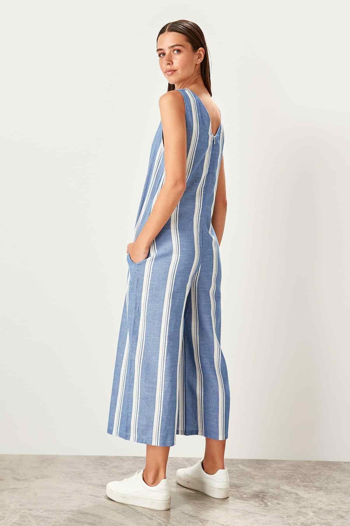 Trendyol синий полосатый комбинезон TWOSS19RD0001