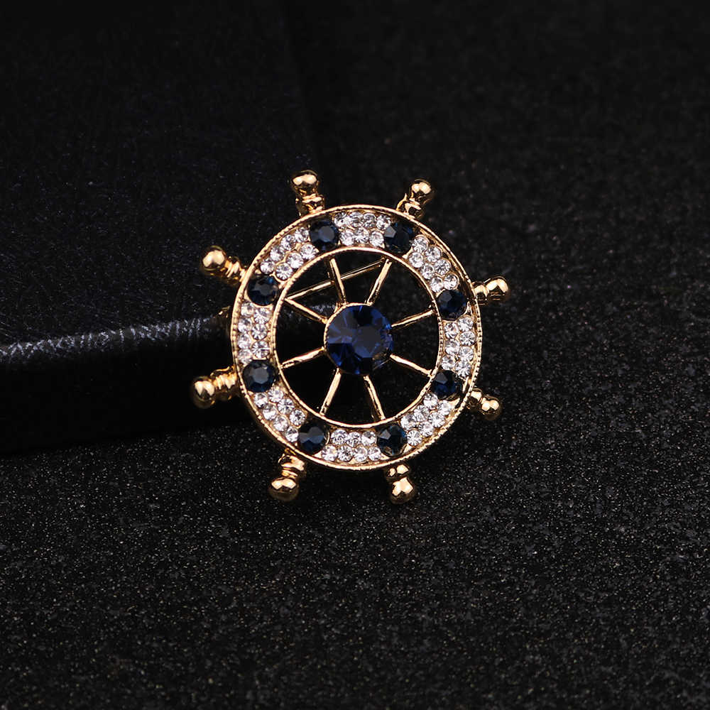 Aku-Remiel Korea Fashion Kristal Gaya Angkatan Laut Perahu Kemudi Jangkar Bros untuk Pria Gugatan Lencana Pin Perhiasan Kemeja kerah Aksesoris