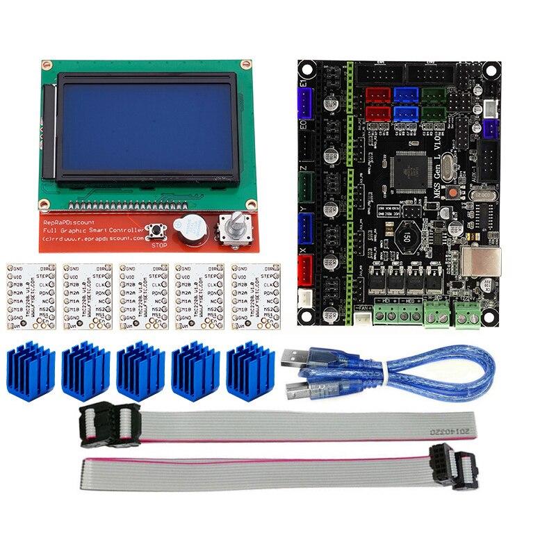 ELEG-3D Imprimante Accessoires MKS GEN L + 12864 LCD Display + TMC2208 Moteur pas à pas Pilote