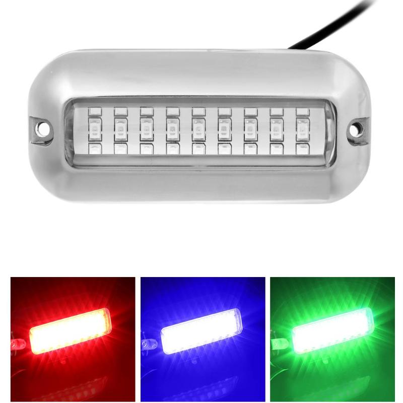 RED 27LED STAINLESS UNDERWATER Rv PONTOON TRANSOM MARINE DRAIN FISH BOAT LIGHT