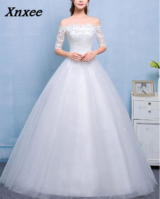 Xnxee 2018 Vestidos De Novia Boat neck Lace Sleeves Dresses White Cheap Bride Frocks Real Picture