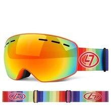 Kids Ski Goggles Skiing And Snowboarding Snow Glasses UV400 Double-Lens Anti-fog Snowmobile Mask Children Snowboard Protection стоимость