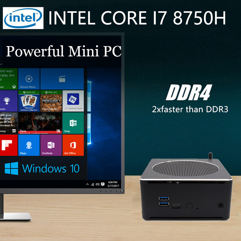 Mini PC,Desktop Computer,with Windows 10 Pro/Linux Ubuntu Support,Intel Core I7 8750H,[HUNSN BY01L],[4USB3.0/HD/RJ45/Mini DP]