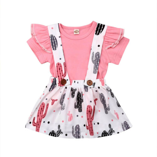 Baby Girls 2PCS Outfits Short Sleeve T-Shirt Tops Pleated Skirt Set Pineapple Plaid Printed Clothes Dress Set