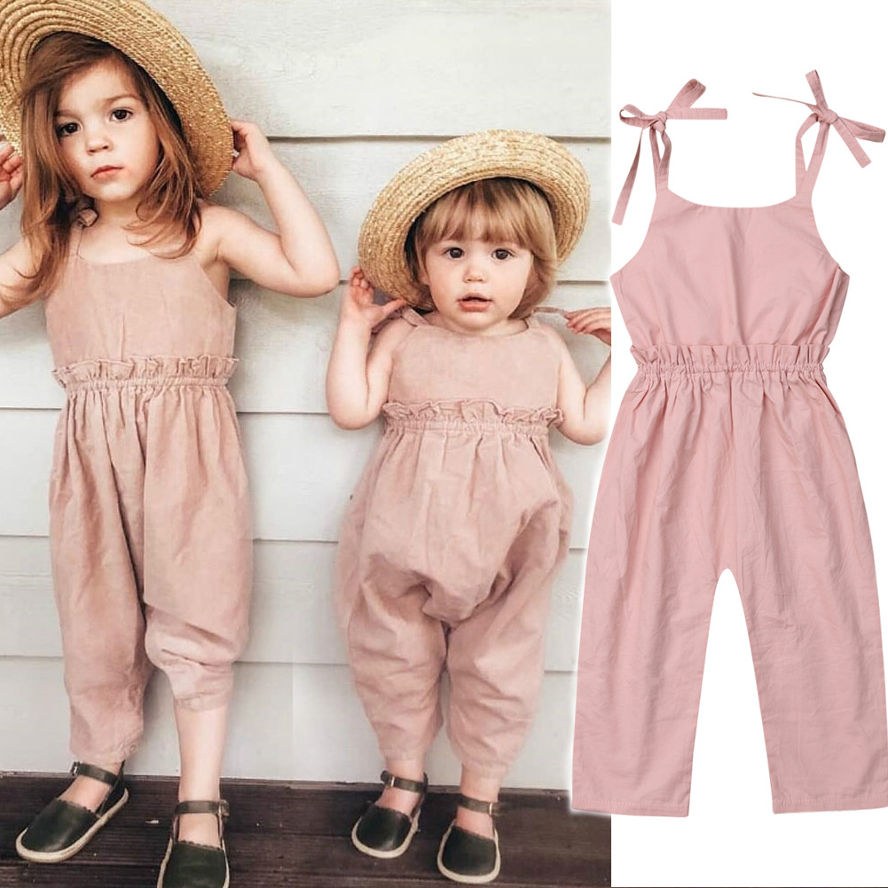 Pudcoco Kid Baby Jumpsuit   Romper   Summer Sleeveless Solid Pink Long Pant Jumpsuit Children Baby Girl Clothing Outfits