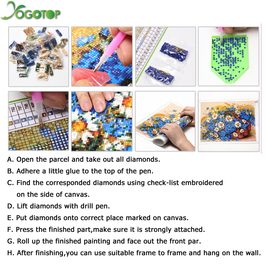 YOGOTOP diy 5d diamond Embroidery farm tractor Full Square Diamond painting Cross stitch kit Drill Mosaic Wall art QA584 in Diamond Painting Cross Stitch from Home Garden