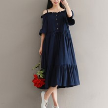 New Arrival Women Button Lace-Up Midi Dress Solid Slash Neck Butterfly Sleeve Party Dresses