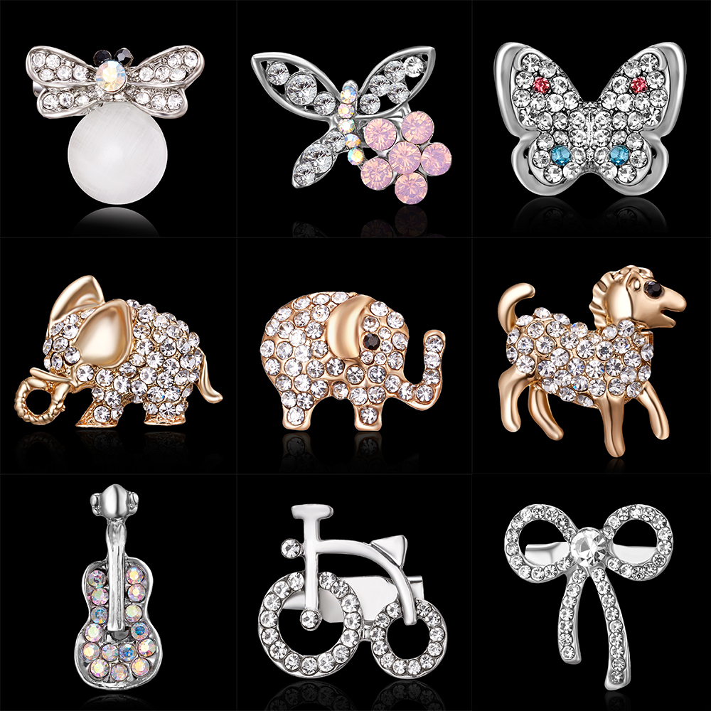 Brooches Rhinestone-Pins Butterfly Elephant Badges-Hat Backpack-Accessories Jewelry Gift