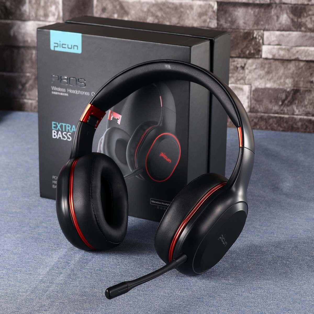 Casque d'écoute sans fil bluetooth sur l'oreille casque de jeu de Vibration de LED rvb jusqu'à 80 heures de temps de jeu avec micro pour Gamer