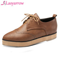Lasyarrow Women Casual Shoes Pointy Platform Heels Fashion Flats for Lady Big Size Lace Up Woman Shoes 28 52 Oxford Loafers J620