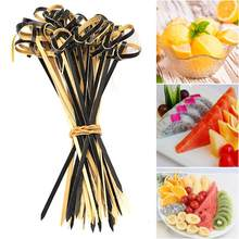 100 Pcs 13 cm Voedsel Cocktail Sandwich Vork Stok Spies Bamboe Knoop Spiesjes Cocktail Sticks Canape Buffet Servies(China)