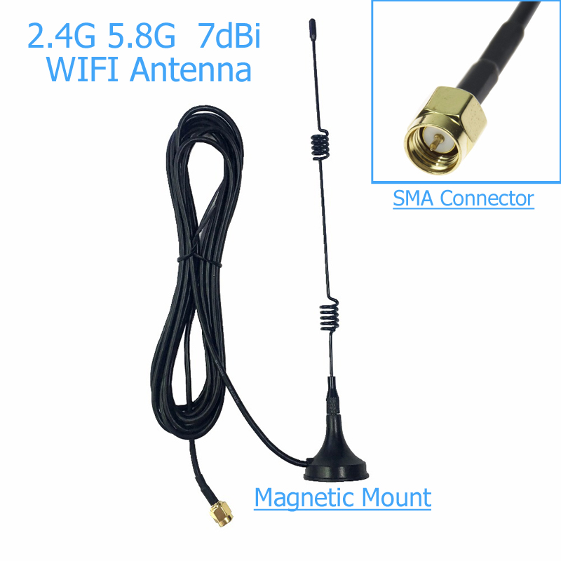 SMA 2.4 GHz 7dBi WIFI Signal Booster Wireless Antenna WLAN 5X Range Extender Magnetic Mount Signal Antenna