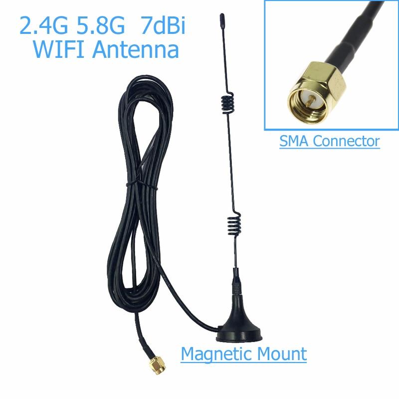 SMA 2.4 GHz 7dBi WIFI Signal Booster Wireless Antenna WLAN 5X Range Extender Magnetic Mount Signal Antenna