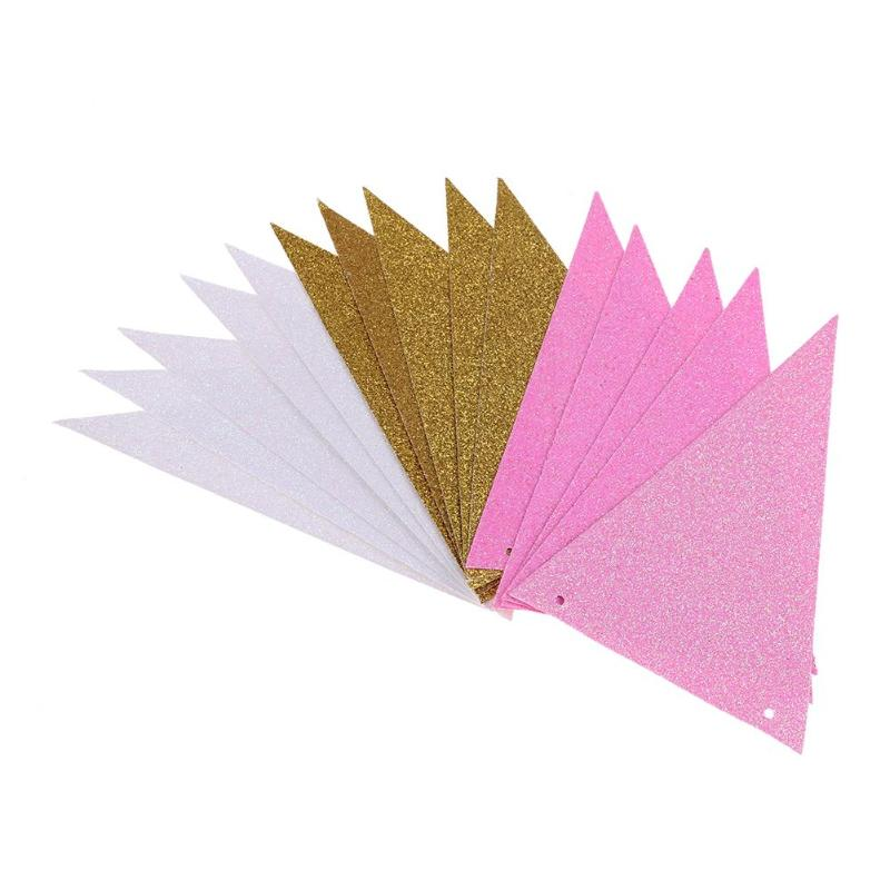 Glitter Paper Birthday Party Hanging Bunting Banner Flag: 15Pcs Pink White Gold Flag Banner Glitter Paper Pennant