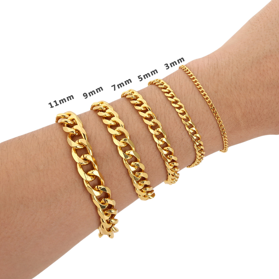 Brilliant Bijou 10k Yellow Gold Flat Curb Link ID Bracelet 7 inches