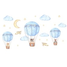 Diy Cartoon Animal Hot Air Balloon Wall Sticker For Kids Rooms Baby Bedroom Wall Decals Self-Adhesive Murals [shijuekongjian] hot air balloon wall stickers diy cartoon wall decals for kids rooms baby bedroom shop glass decoration