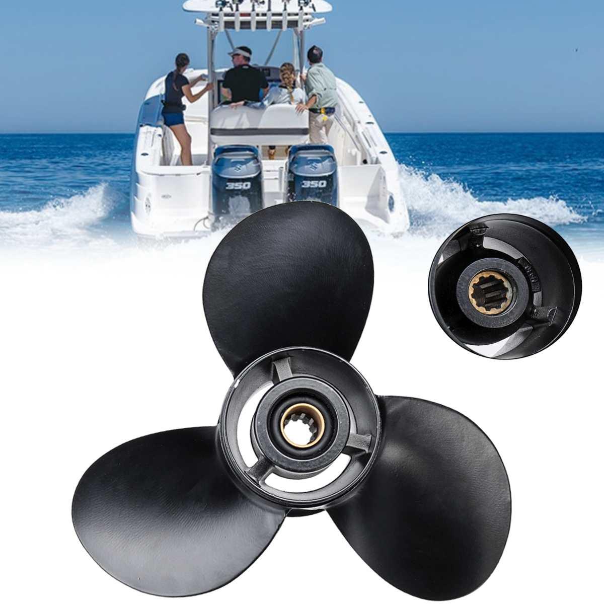 58100-96440-019 10 1/4x13 pollice Barca Fuoribordo Elica In Alluminio per Suzuki 20-30HP 3 Lame 10 spline Tooths Nero R Rotazione