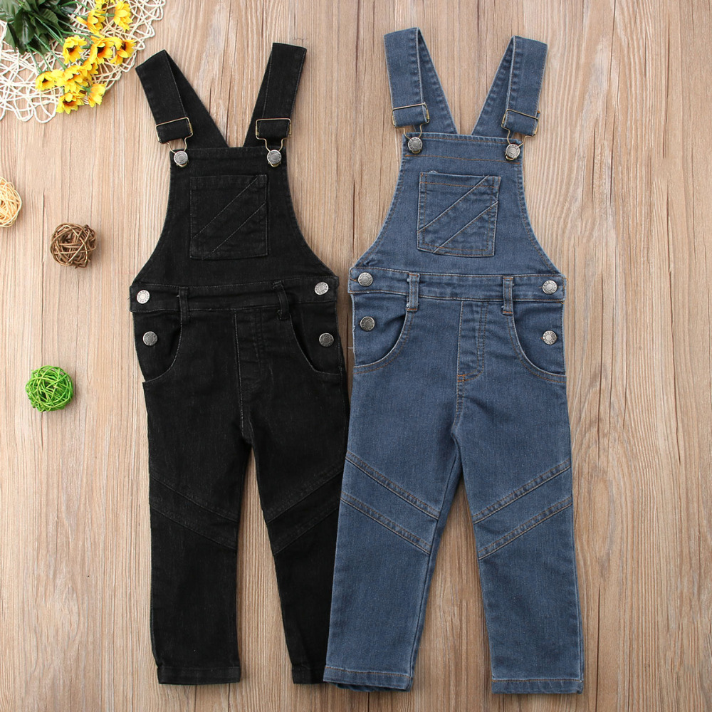 G-real Fashion Toddler Little Girls Boys Solid Denim Strap Overalls Jeans One Piece Jumpsuit Pocket Pants
