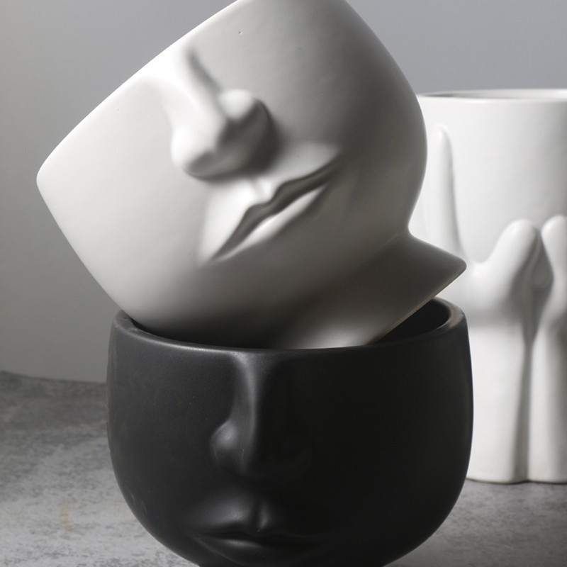 Nordic Human Face Ceramic Matte Vase Modern Creative Ceramic Tabletop Vase White Black Artificial Flower Pot Home Decor Ornament