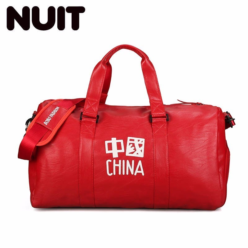 Letter Traveling Bags For Ladies Portable Tote Pu Leather Travel Organizer Bags Luggage Duffle Bag Chinese Style Travelling Bags
