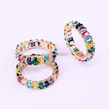 2019 Latest 6Pcs Gold filled fashion jewelry shiny rainbow cz engagement ring for women colorful cubic zirconia round