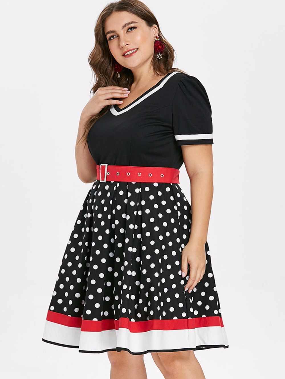 S-2XL Polka Dot Impressão Vestido de Verão Das Mulheres Do Vintage Com Decote Em V Sem Mangas UM-alinhado Vestido Querida Pin Up 50 s Partido vestidos de Cinto