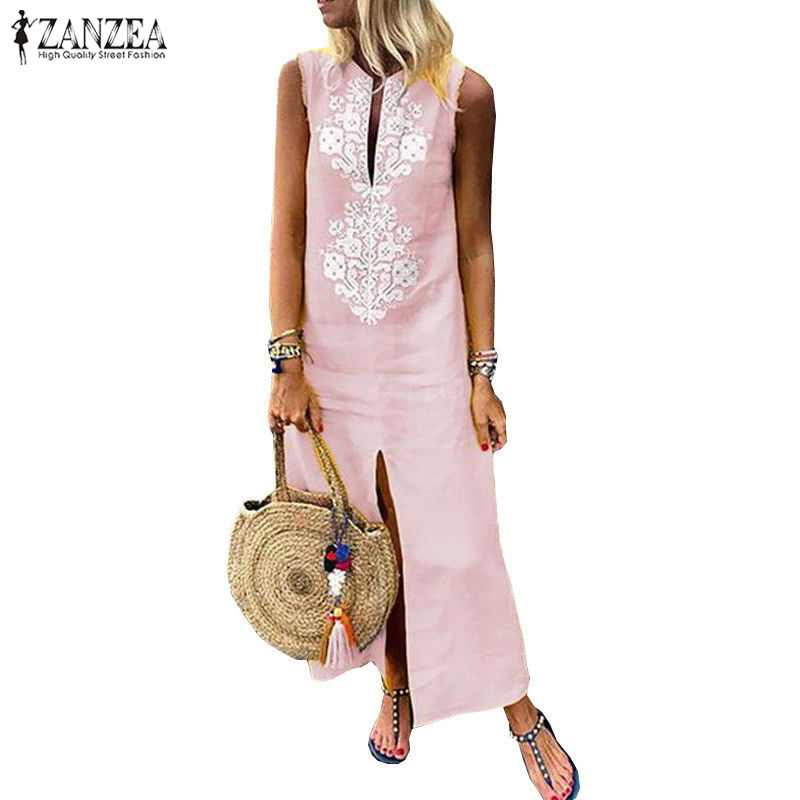 c0ab81571f ... 2019 Summer ZANZEA Boho Floral Printed Party Dress Solid Sleeveless  Split Long Kaftan Women Casual Loose ...