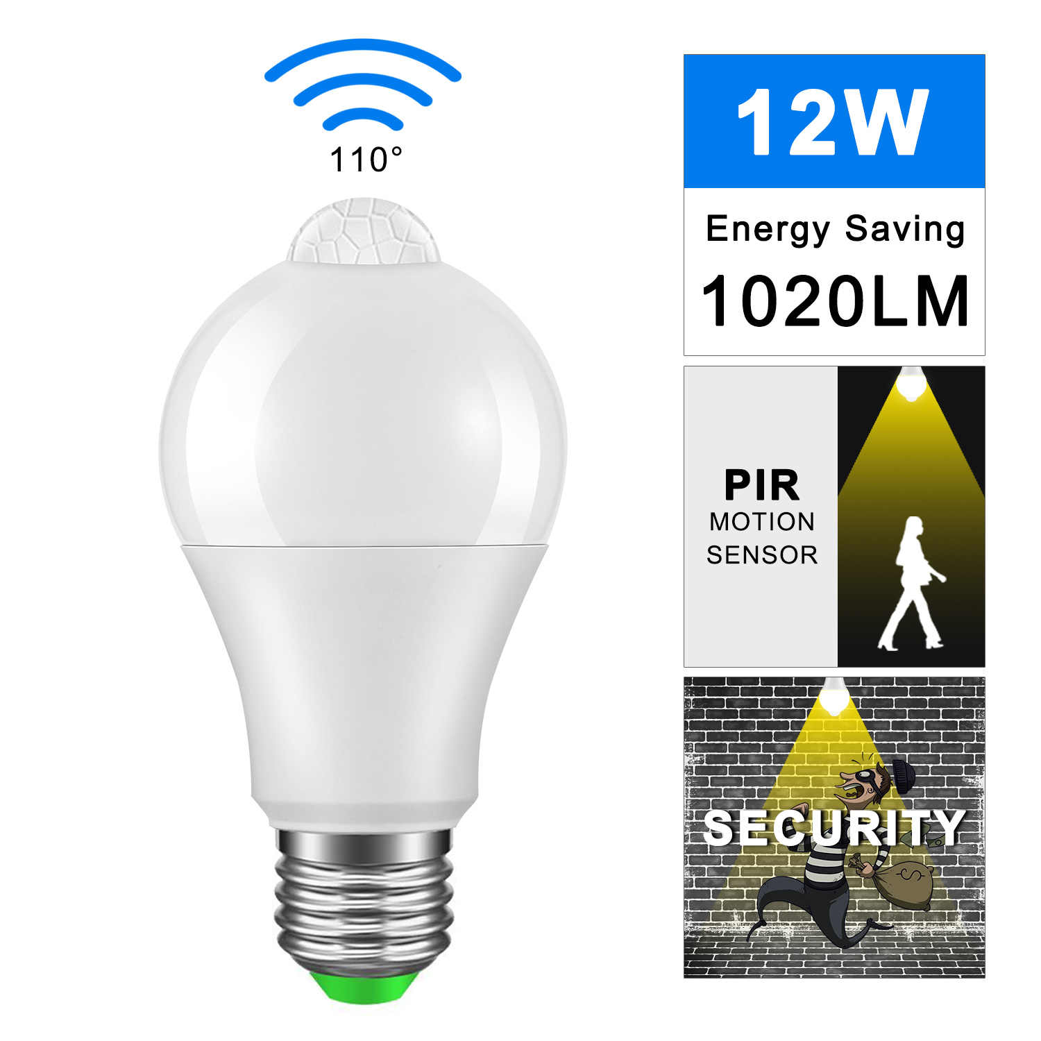 IP42 LED PIR Motion Sensor Bulb E27 12W 18W 220V 110V LED Light Sensor Lamp Led Auto Detection Lampada Home Lighting Bombillas