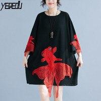 #1631 Summer Three Quarter Sleeve T Shirt Women Patchwork Long Big size Tee Shirt Femme Tide Streetwear Funny T shirt Harajuku