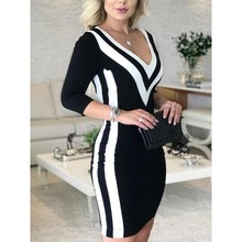 Spring Sexy Striped Bodycon Dress Office Lady Women Long Sleeve V-Neck Casual Elegant Work