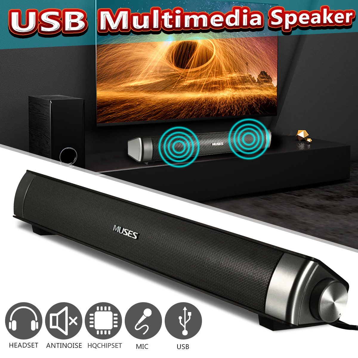 Wired Soundbar Lautsprecher System 6W USB Multimedia Audio HIFI Stereo Sound Bar Für Computer PC Laptop Desktop Smart Telefon