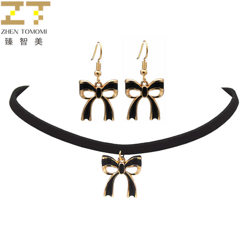 2018 Zhen Tomomi Hot Trendy Fashion Bowknot Pendant Choker Necklace/drop Earrings Jewelry Sets Party Wholesale For Women