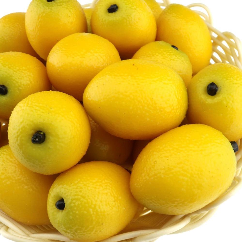 Gresorth 20 PCS High Quality MINI Fake Yellow Lemon Artificial Fruit Home Party Decoration